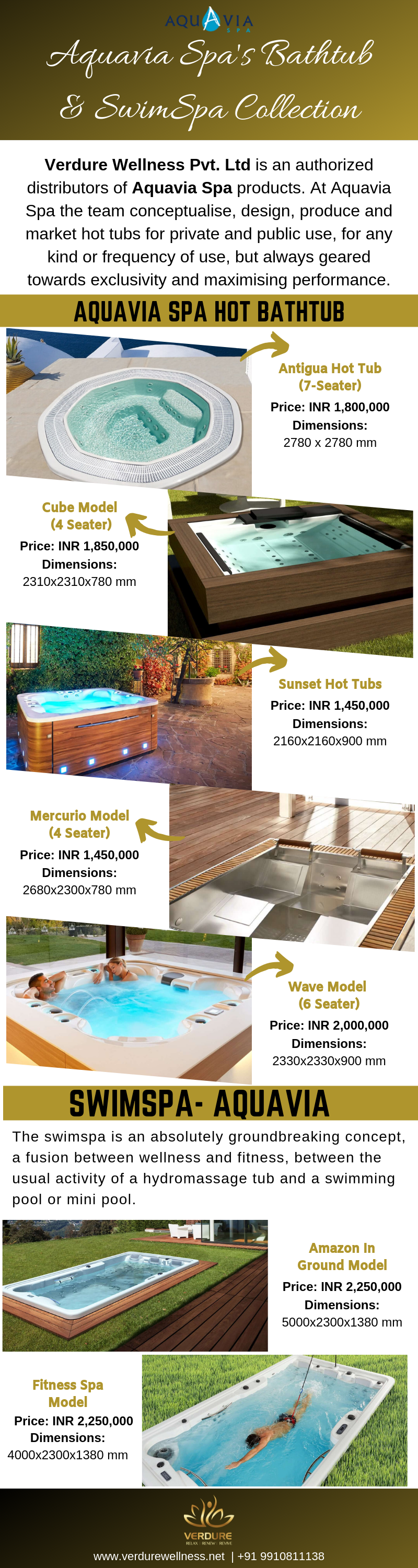 Aquavia Jacuzzi tub Spa Collection - Verdure Wellness