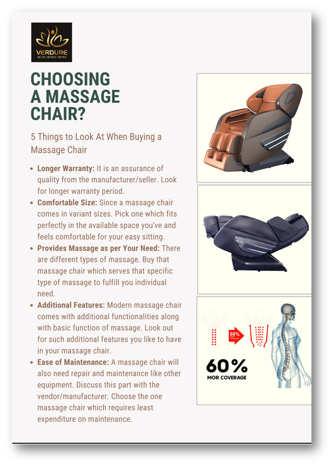 Infographic showing 5 considerable things before buying a massage chair by Verdure Wellness